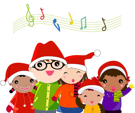 Winter kids singing Silent Night song Illustration