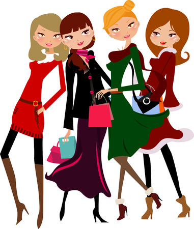 Four cute girls in stylish dresses  Stock Vector - 24385086