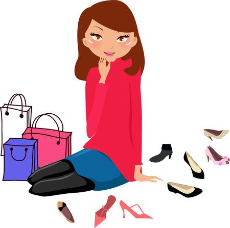 tarde de cafe: Muchacha bonita de compras en una tienda de zapatos