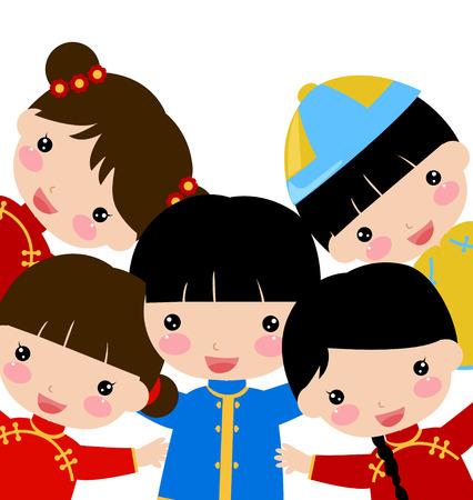 bambini cinesi: _children ew Anno, cinese Vettoriali