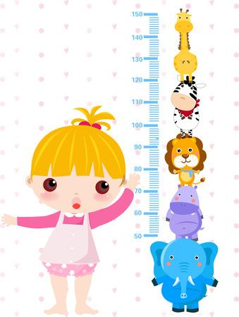 Een vector illustratie van een meisje meten haar lengte Stock Illustratie