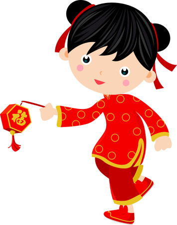 A chinese girl with lantern Vector