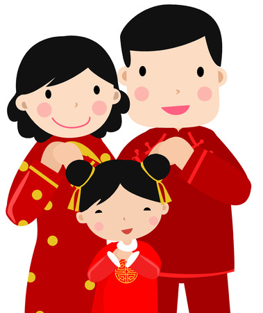 asian culture: New Year Greetings_happy family,art Illustration