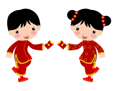 Chinese new year greetings - boy and girl Vector