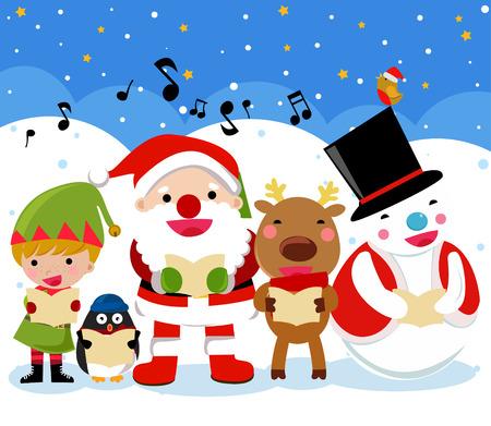 santa reindeer snow man in the christmas time vector - Santa And Reindeer Pictures