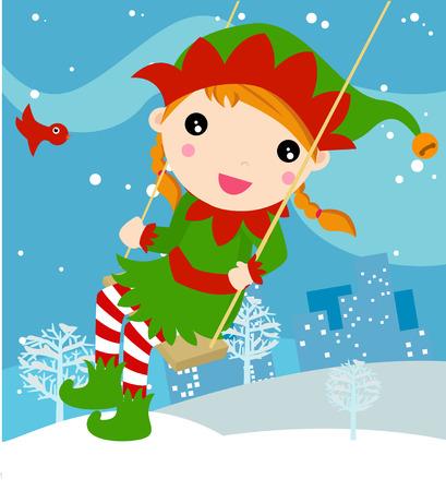 Swinging elf Vector