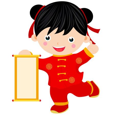 year greetings: Chinese new year greetings- girl