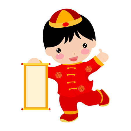 firecrackers: Chinese new year greetings-boy