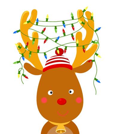 renos de navidad: reno lindo con luz de Navidad