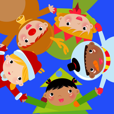 christmas children set with santa claus, reindeer, snowman and tree Vector