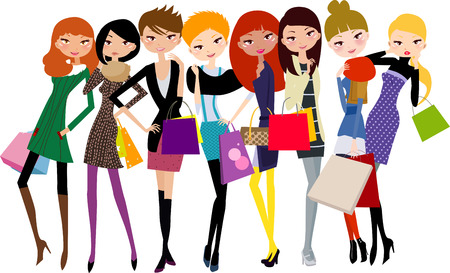 hair clip: Shopping girls