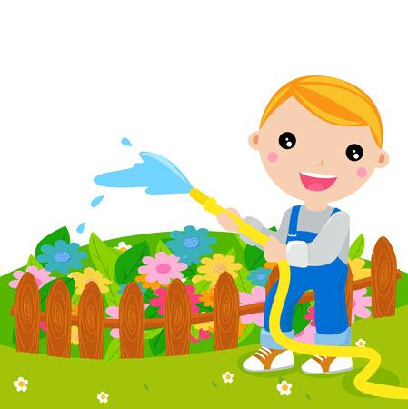 kid gardening with water Vector