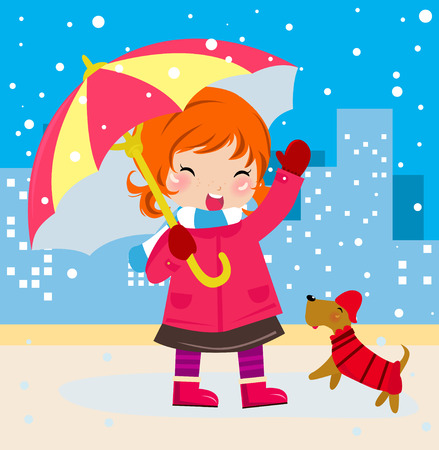 Cute girl and dog Vector