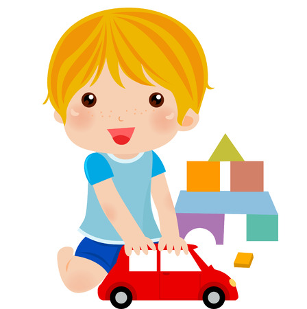 Little boy playing car Vector