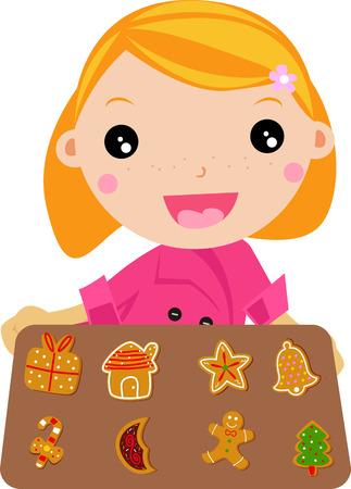 cute girl cookies Vector
