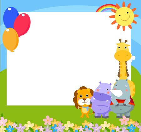 giraffe frame: Frame with four African animals - vector illustration
