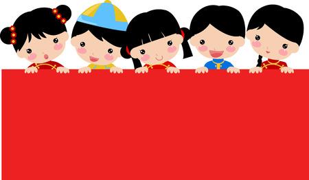 新年子供と中国人のバナー