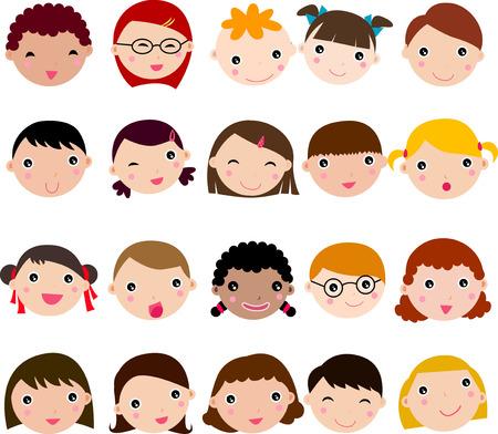 animated boy: people face set