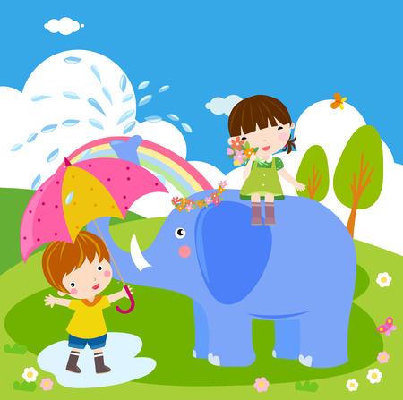 kids having fun: Kids having fun with elephant