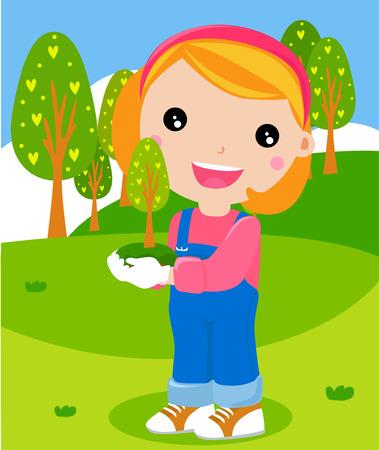 little girl planting tree Vector