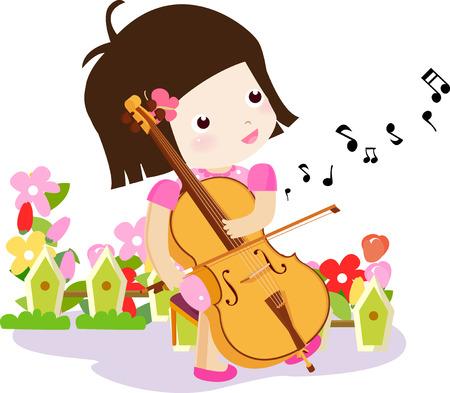vector illustration, girl playing violin