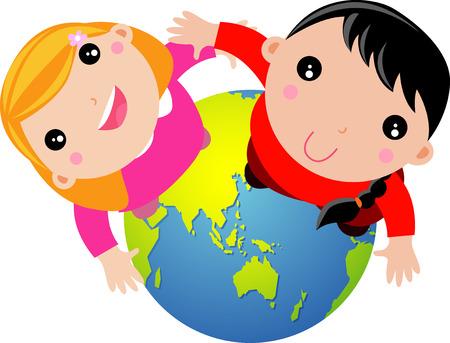 Globe kids Vector