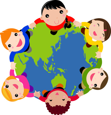 Multi culture kids hands in hands Vector