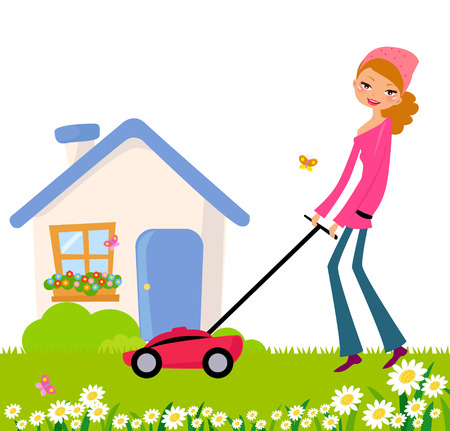 lawn mowing: Pretty girl mowing her lawn Illustration