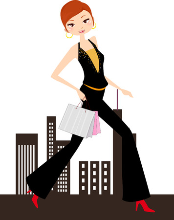 crossing the road: Shopping girl