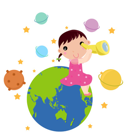 Girl and Globe Vector