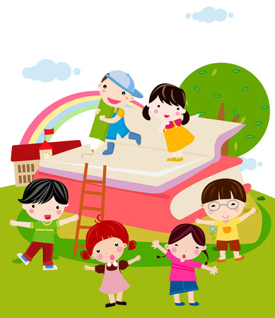 Kids and book Иллюстрация