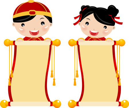 new year scroll: Chinese new year greetings - boy and girl