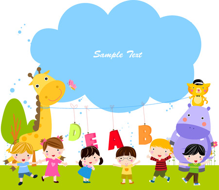 Group of children and frame Vector
