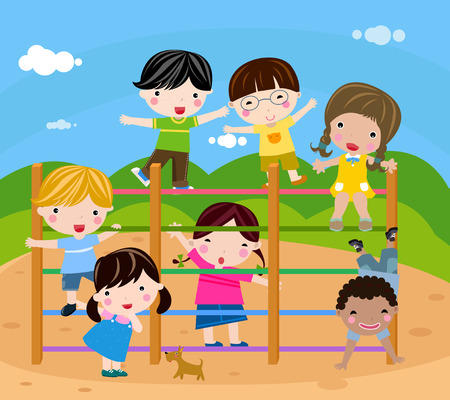 school yard: Group of children playing-vector