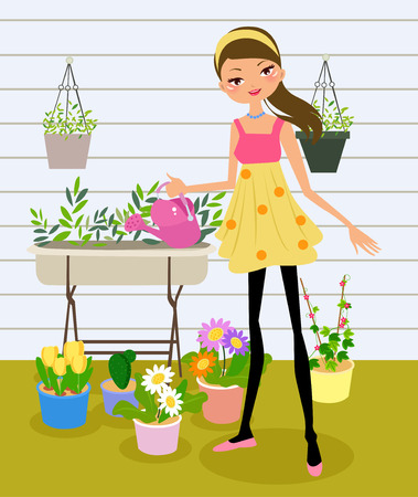 cartoon summer: pretty girl watering the flower