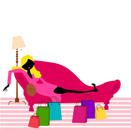 spend the summer: Girl sitting on a sofa with shopping bags on floor Illustration