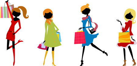three hands: pretty shopping girls Illustration