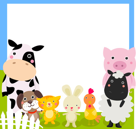 Farm animal and frame Vector
