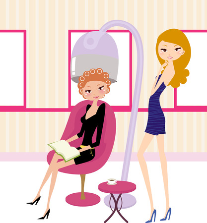 hair cutting: Vector illustration of the beautiful woman in hairdressing salon