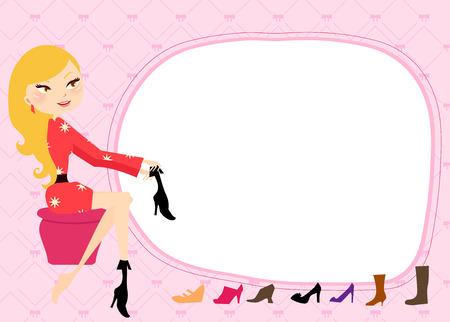 かわいい女の子の靴専門店でのショッピング