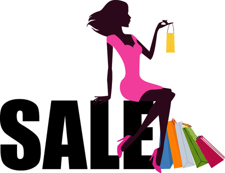 lots: shopping girl and sale word