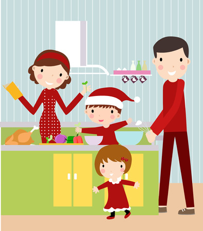 family cooking ,Christmas Vector