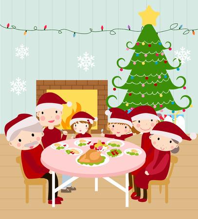 familia cenando navidad feliz