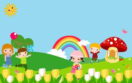 playmates: Niños jugando Vectores