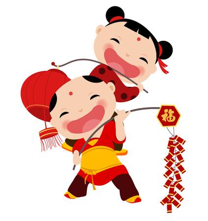 niños chinos: Año Nuevo saludos niños Vectores