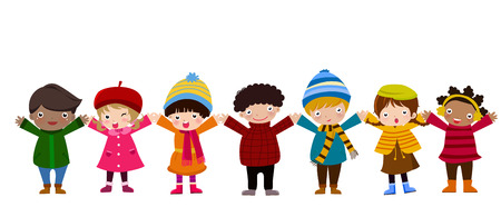 multicultural group: Group of children and winter