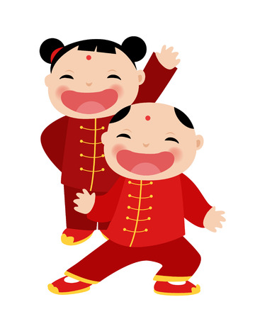 Chinese Girl-Boy Greetings Çizim