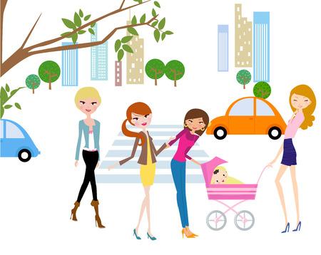 baby stroller: pretty girls talking