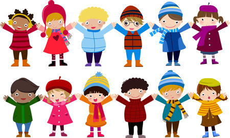 Group of children and winter Vector