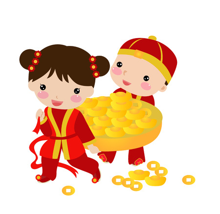 New Year _children,chinese Vector